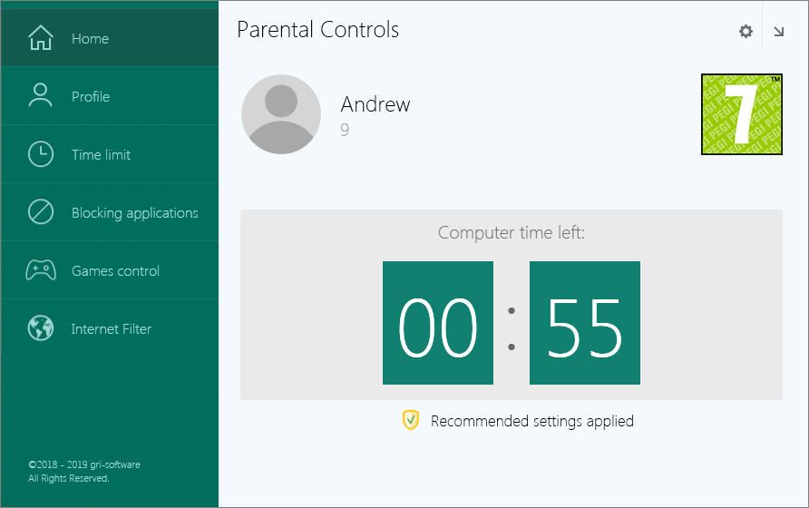 GS Parental Controls Screenshot 1 in English